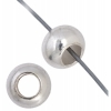 Metal Beads Round 6mm/3mm Hole Silver